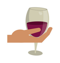 Hand holding glass cup wine vector