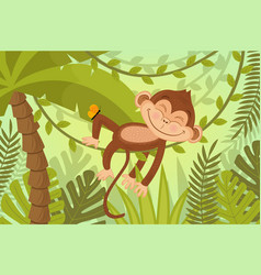 Scene monkey sleeps on vine vector