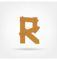 Wooden Boards Letter R vector image