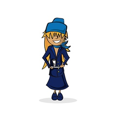 Cute stewardess cartoon vector