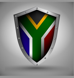 Shield with the south africa flag vector