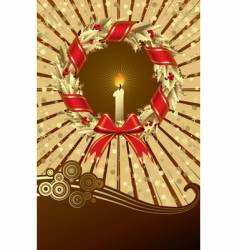 Card with a holly wreath vector