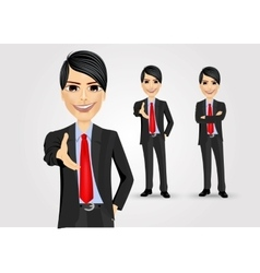 Successful businessman giving a hand vector