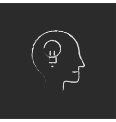 Human head with idea drawn in chalk vector