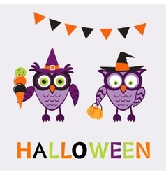 An of cute halloween owls vector