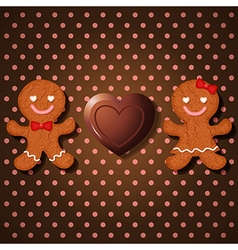 Loving couple of gingerbread and heart chocolate vector