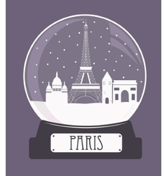 Paris christmas glass ball vector