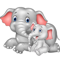Cartoon funny mother and baby elephant isolated vector