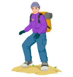 Backpacker hiking vector