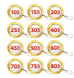 Gold shopping tags set vector