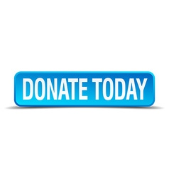 Donate today blue 3d realistic square isolated vector