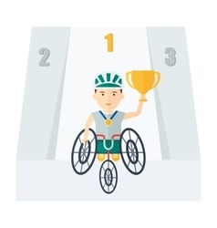 Handicapped athlete holding cup vector