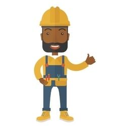 A happy carpenter wearing hard hat vector