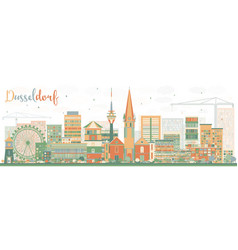 abstract dusseldorf skyline with color buildings vector image