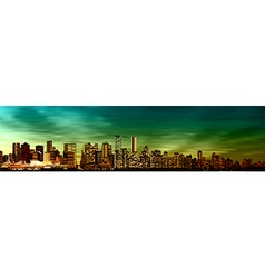 abstract green sunset background with panorama of vector image vector image