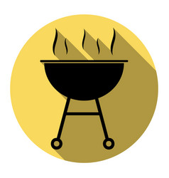 Barbecue simple sign flat black icon with vector