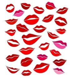Big set of stylized graphics lips vector image