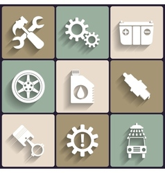 Car service maintenance flat icon set vector image vector image