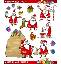 Cartoon Set of Santa Christmas Themes vector image