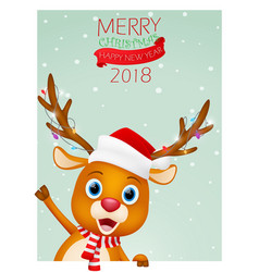 christmas card background with cute reindeer vector image vector image