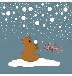 Christmas card with bear cub vector