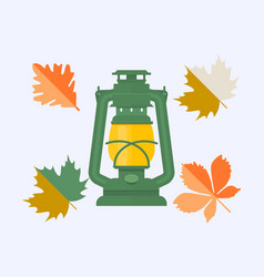 color autumn leaves and vintage camping lantern vector image vector image