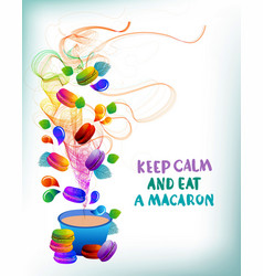 colorful french macaron cookies with drops and vector image vector image