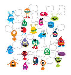 Cute adorable ugly scary funny mascot monster set vector