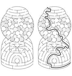 Easy gumball machine maze vector