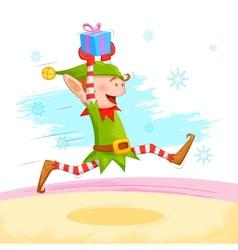 Elf distributing christmas gift vector
