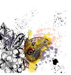 Fashion with colorful butterfly and flowers vector