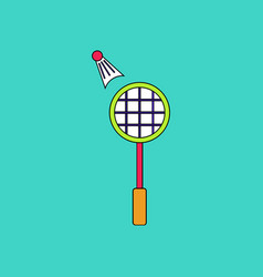 Flat icon design collection kids badminton vector