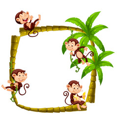 Frame design with monkeys on coconut tree vector