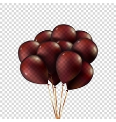 Group purple balloons depicted on transparent set vector