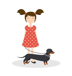 happy smiling girl with her dachshund vector image vector image