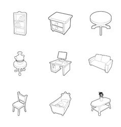 Home furnishings icons set outline style vector