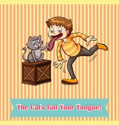 Idiom cats got your tongue vector image