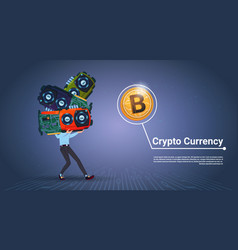 Man holding microchips crypto currency concept vector