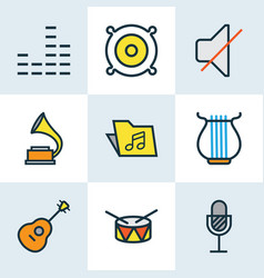Music colored outlines set collection of harp vector