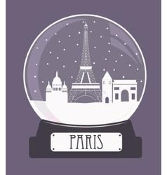 Paris christmas glass ball vector