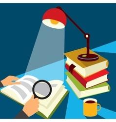 Reading a book vector