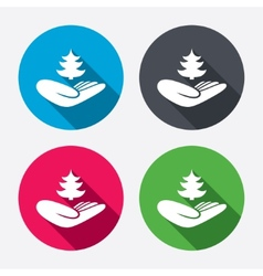 Save forest sign hand holds tree symbol vector