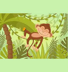 scene monkey sleeps on vine vector image vector image