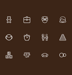 set of 12 editable folks outline icons includes vector image vector image