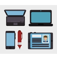 set social network d icons vector image vector image