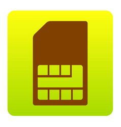 Sim card sign brown icon at green-yellow vector