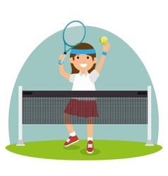 Tennis girl jump court net vector