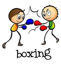 Two stickmen boxing vector