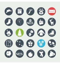 White christmas icons vector