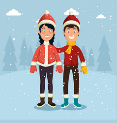 Winter sports happy people cartoon vector